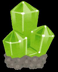 鉱石のイラスト(台座付き・緑)