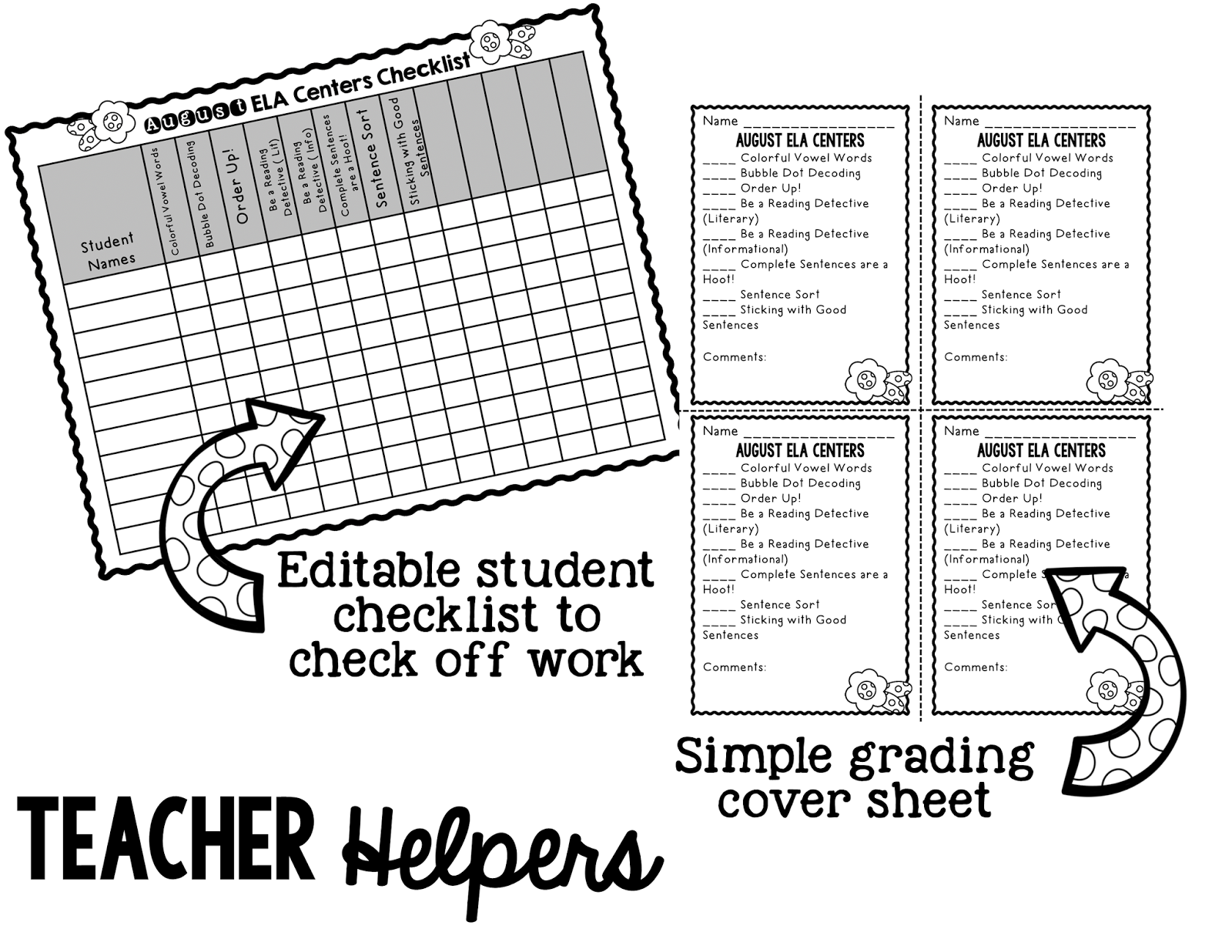 {Freebie} August ELA Centers with Differentiation, Student