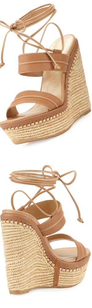 Stuart Weitzman Abandon Leather Ankle-Wrap Wedge Sandal, Meil