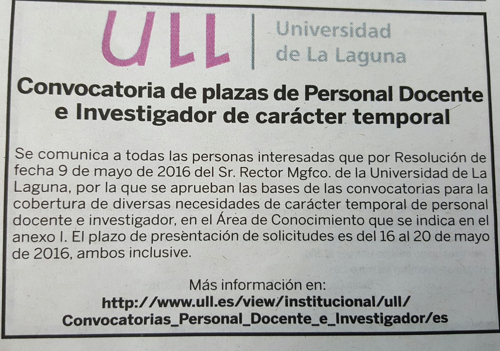 Fpempleo convocatoria de personal docente en universidad for Convocatoria de docentes 2016