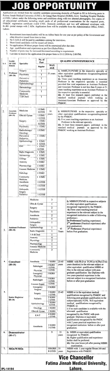 Fatima Jinnah Medical University FJMU Lahore Jobs