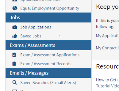 Image of the Exam/Assesment Records in CalCareer Account
