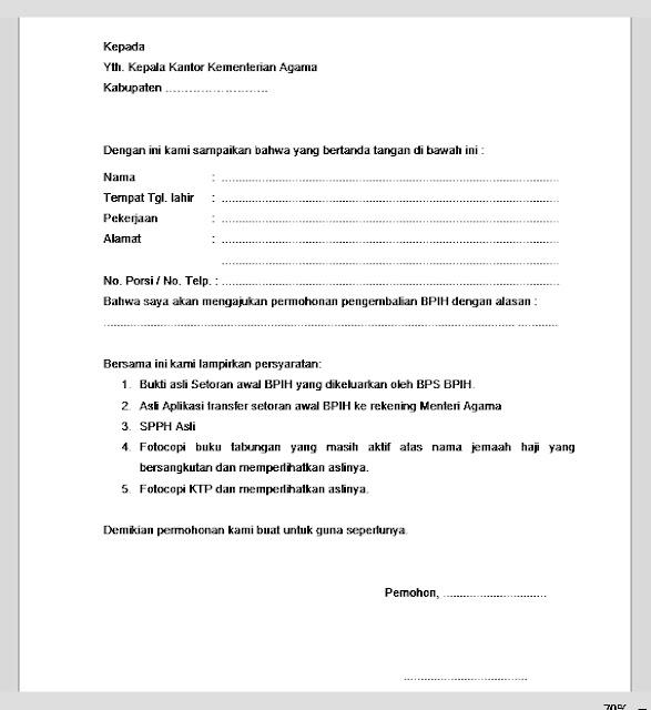 Surat Permohonan Pengembalian BPIH (Biaya Penyelenggaraan Ibadah Haji)