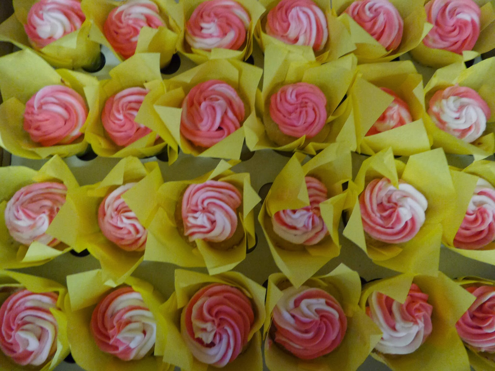 Pink Swirled Cupcakes for Top Enders Baptism