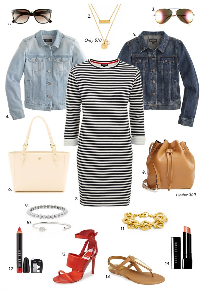 spring trends 2015, striped dress, denim jacket, bucket bag