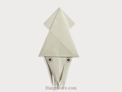 Cách gấp, xếp con cá mực bằng giấy origami - Video hướng dẫn xếp hình sinh vật dưới nước - How to fold a Squid