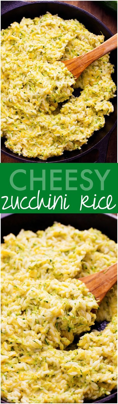 I love zucchini season.  And I love that I have an over abundance in my backyard.  And I especially love being able to sneak it into different recipes so that my kids will eat it.  Like this one.  We usually have rice for a side.  So why not make it amazing by adding cheese and zucchini!?  We have now made this recipe 3 times since.  I am telling you.  It is one of the best sides that we have ever had!  Everyone gobbled this down including the baby.