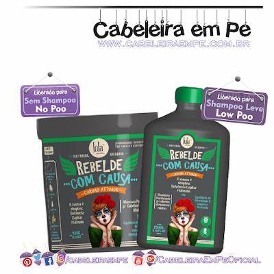 Linha Purificante Rebelde com causa Lola Cosmetics (Shampoo Low Poo e Máscara No Poo) - com carvão ativado, gengibre, água e leite de coco'