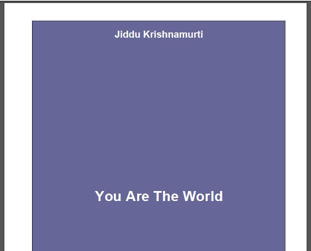 You are the World by Jiddu Krishnamurti in PDF