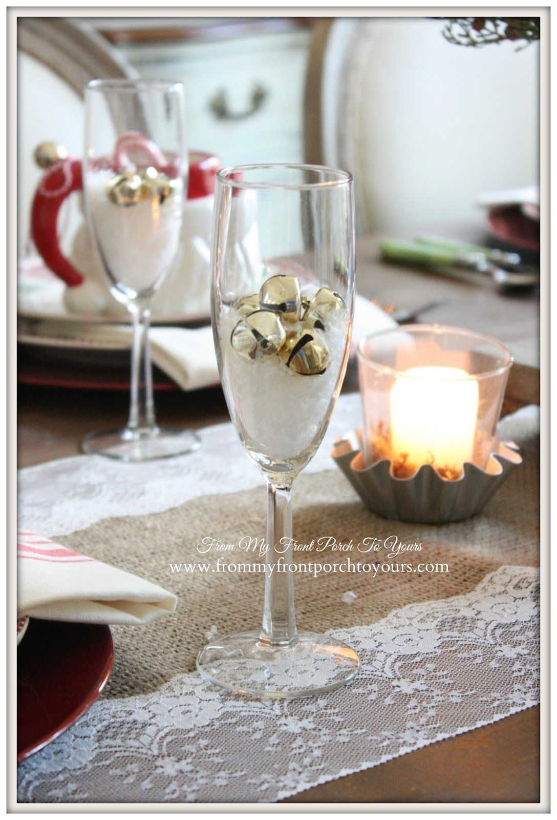 Christmas Table Setting-French Farmhouse Vintage Christmas Dining Room- From My Front Porch To Yours
