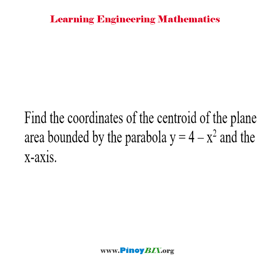 Find the coordinates of the centroid of the plane area bounded by the parabola and x-axis