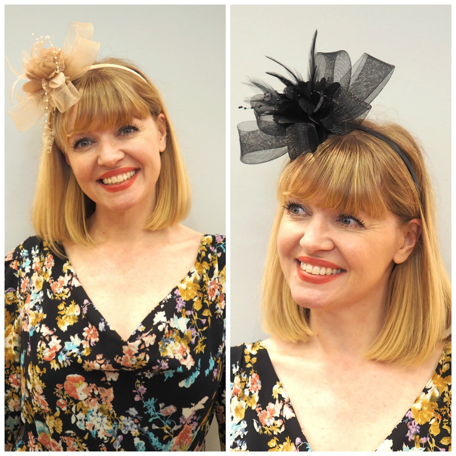 What to wear for York Races, black fascinator, nude fascinator, Evans over 40