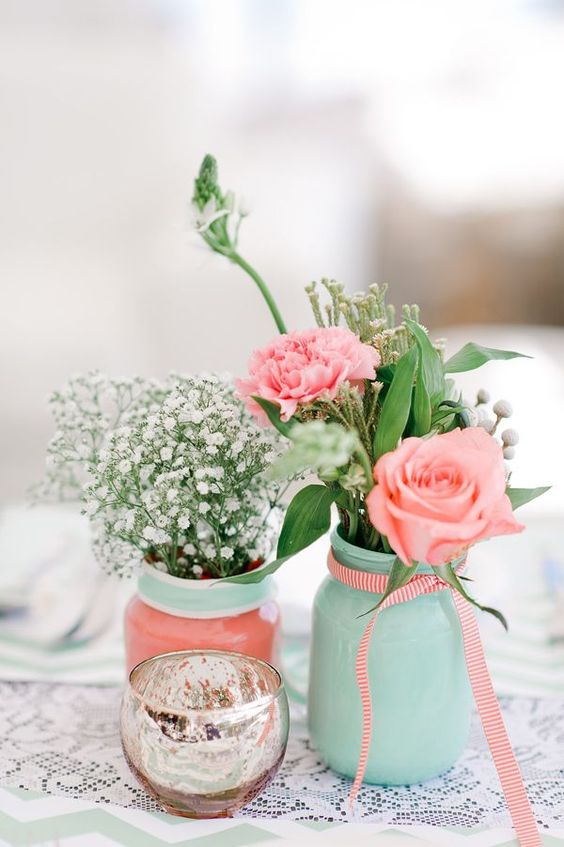 Decoração Casamento Festa Menta Rosa e Dourado