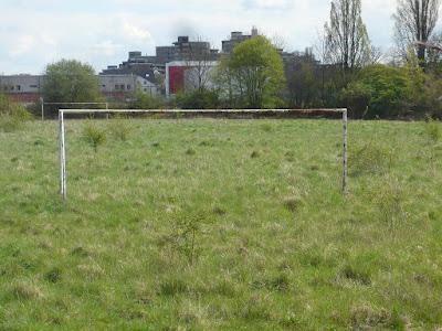 Ein alter Fußballplatz auf dem verrostete Tore stehen. In der Mitte des Platzes wachsen Büsche und Sträucher