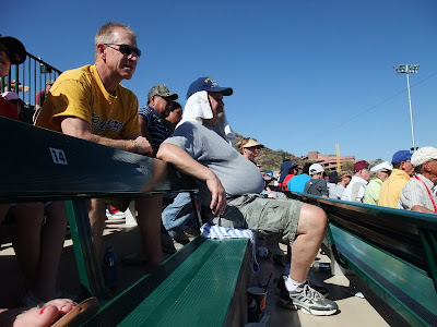 fan at spring training baseball, fat old white guy