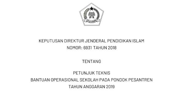 Download Petunjuk Teknis (Juknis) BOS pada Pondok Pesantren (Ponpes) Tahun 2019. tomatalikuang.com