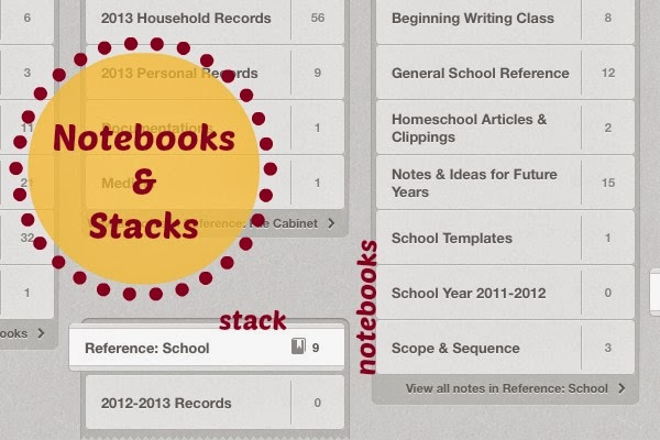 Five Ways to Use Evernote for Homeschooling: notebooks and stacks