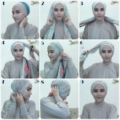 Tutorial Hijab Turban Segi Empat Modern Gaya #16 Casual