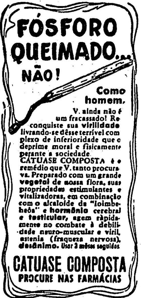 Propaganda antiga da Catuase Composta para combater a impotência sexual dos homens da década de 30