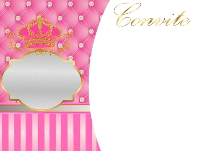 Corona Dorada En Fondo Rosa Con Brillantes Invitaciones