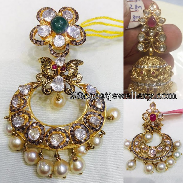 Heavy Flat Diamond Jhumkas by Swansh