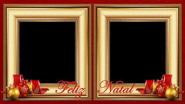 Natal - Moldura Douradas sob Red 50 B - 2 fotos com Feliz Natal