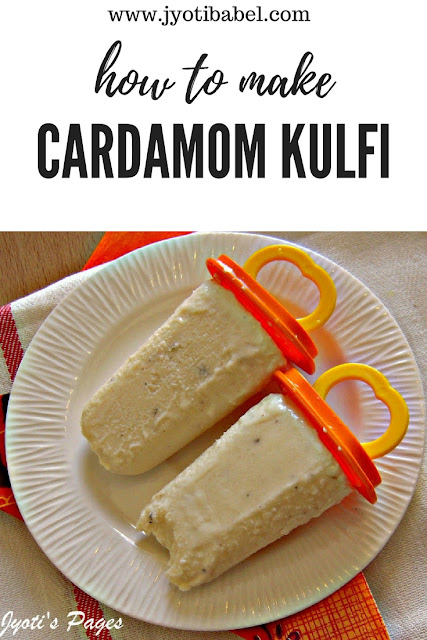 Cardamom Kulfi is the traditional Indian popsicle made with evaporated milk and is flavoured with cardamom. Find my recipe for cardamom kulfi on www.jyotibabel.com