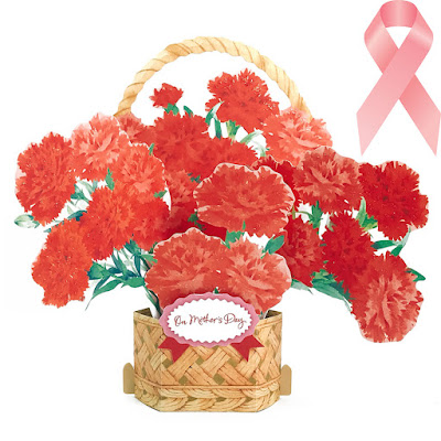 Mother's Day Carnations Basket Arrangement 3D Pop Up Card