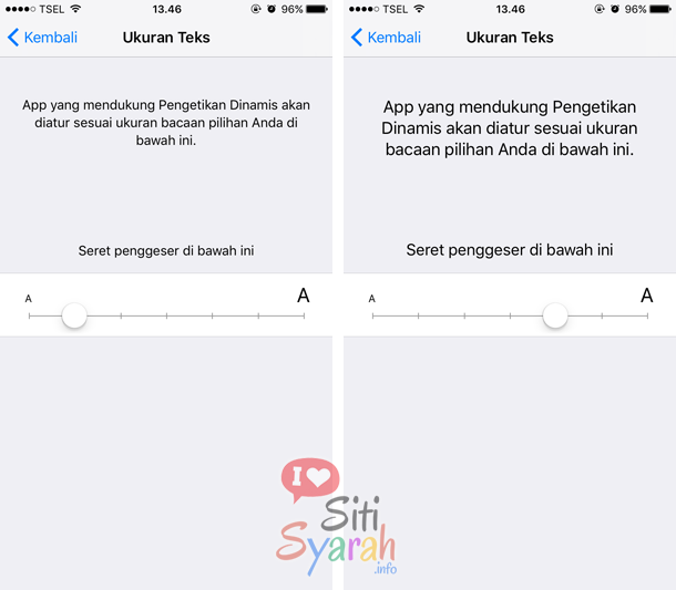 setting huruf di iPhone