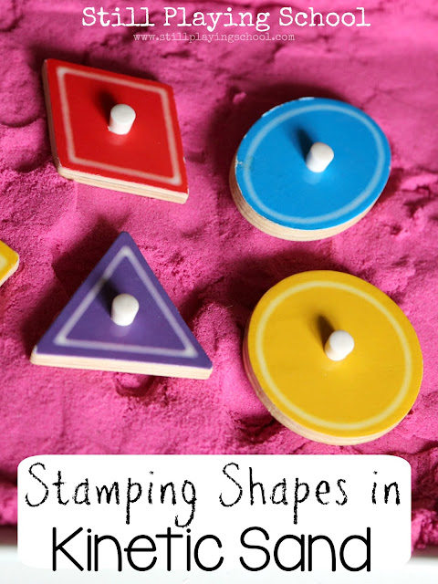A hands on way for kids to learn shapes by stamping them in kinetic sand!