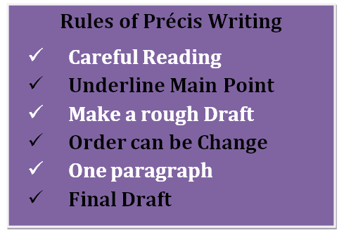 rules of precis writing