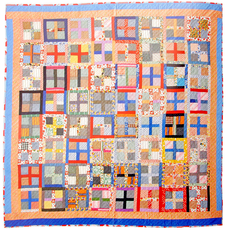Unconventional & Unexpected: American Quilts Below the Radar by Roderick Kiracofe |  Cross/Four Patch c.1950-1975.  Found in Pennsylvania Cotton, Blends.