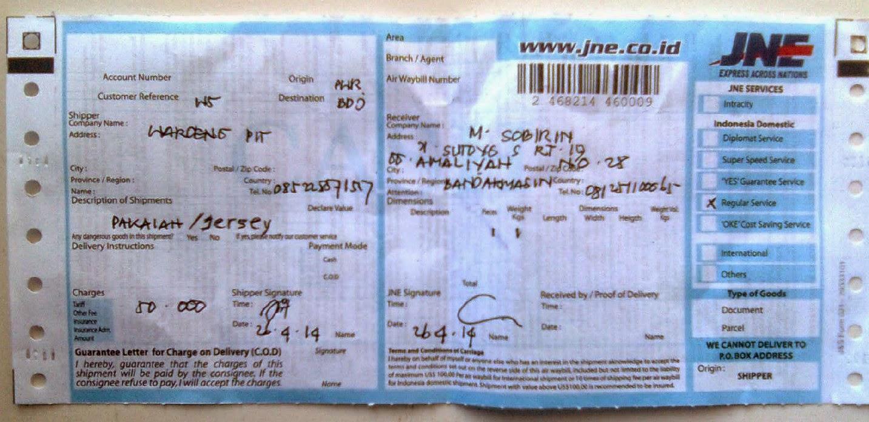 Bukti No Resi Jne Pengiriman paket ke banjarmasin m sobirin yg membuktikan waroengpit terpercaya sebagai toko sepeda gunung online waroengpit