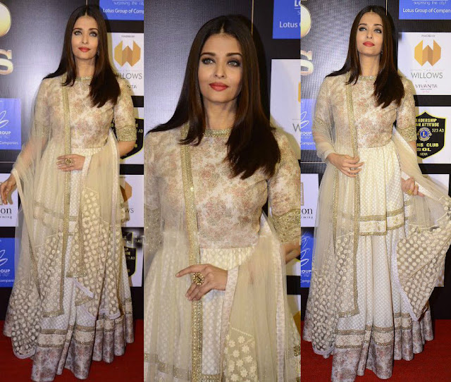 Aishwarya Rai Bachchan in Cream and Gold Embroidered Sabyasachi Anarkali Suit