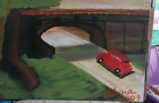 walkover bridge first effort by Gloria Poole yr 2004