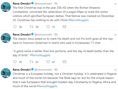 Reno Omokri Enlightens Buhari And Nigerians About Christmas In A Rant