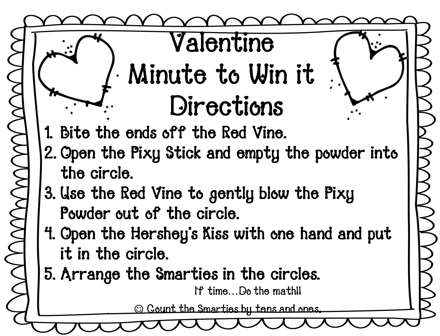 First Grade Wow Valentine Minute To Win It