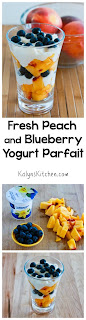 Fresh Peach and Blueberry Yogurt Parfait  found on KalynsKitchen.com