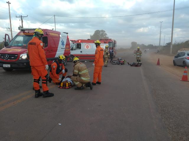 Três pessoas ficam feridas após atropelamento na DF-473