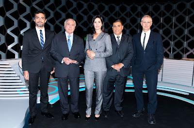 Michel Temer, Bruno Boghossian, Fernando Rodrigues, Carlos Nascimento e Débora Bergamasco (Crédito: Lourival Ribeiro/SBT)
