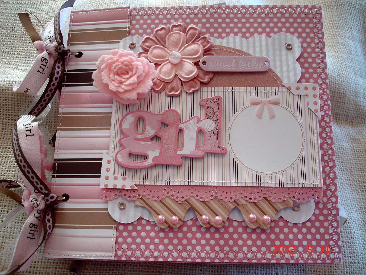 Scrapbooking By Phyllis Premade 8x8 Paper Bag Album Sweet Baby Girl