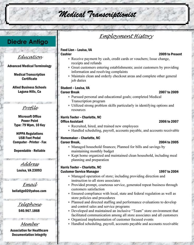 Medical Transcriptionist Sample Resume Sample Resumes