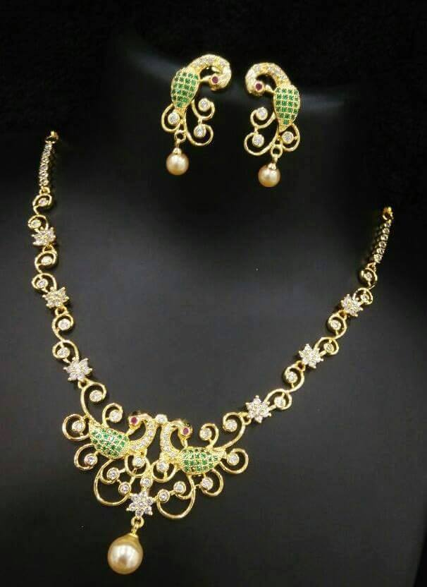 Beautiful 1 gram gold necklace sets buy online jewellery beautiful one gram gold necklace sets this different designs studded with pearlruby and emeralds mozeypictures Image collections