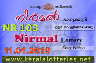 Kerala Lottery Results: 11-01-2019 Nirmal NR-103 Lottery Result