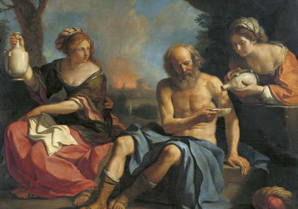 Loth and his daughters by Giovanni Francesco Barbieri (Guercino), Illustrated Bible Stories, Old Testament Stories, Religious art, Sacred art, Hebrew events