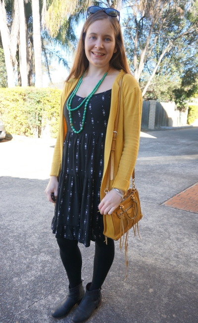 Little black tiered dress in winter mustard yellow cardigan tights ankle boots | Away From The Blue