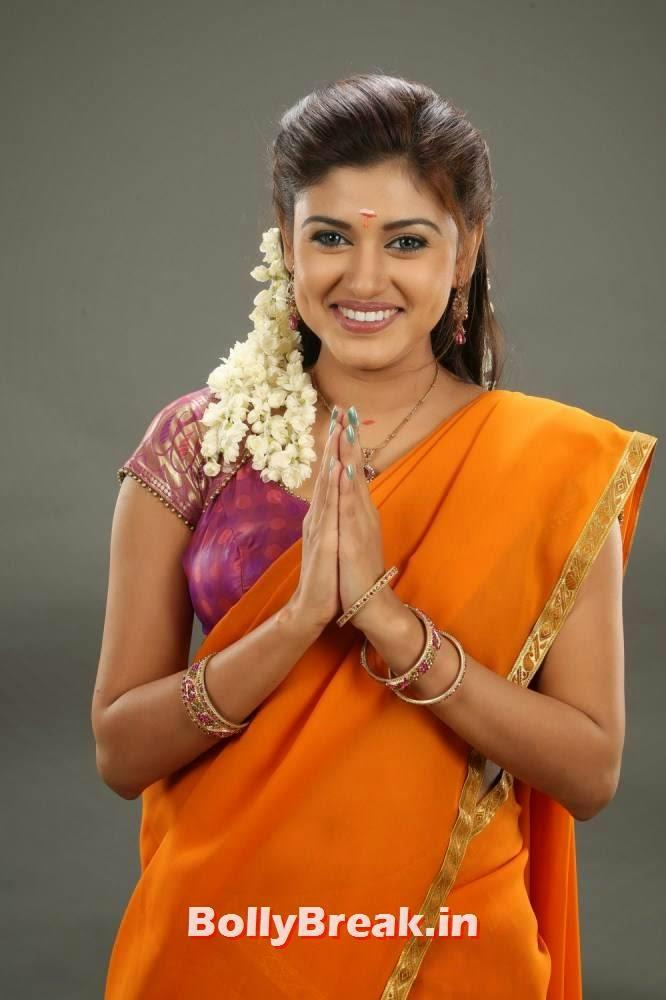 Oviya In Orange Saree- Tamil Traditional Clothes Pics - 3 Pics-3740