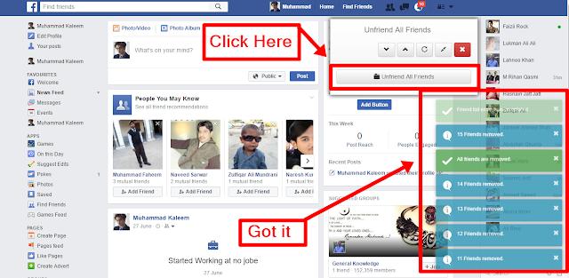 Unfriend All Facebook Friends got it