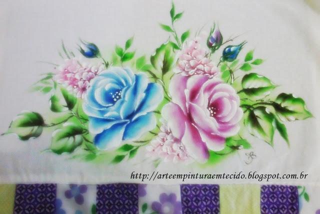 pintura em tecido ramo de rosas