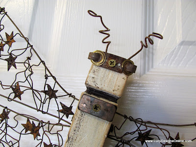 table leg dragonfly with recycled metal pieces for eyes